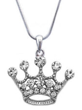 Clear Crystal Princess Crown Tiara Pendant Necklace Girl Fashion Jewelry n31