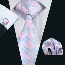 New Plaids Checks Mens Silk Neckties Tie+Hanky+Cufflinks Set Jacquard Woven 1028