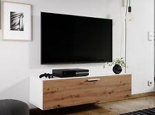 Wall Hung Floating White & Medium Oak TV Unit Media Cabinet 1 Door 120cm Nevada