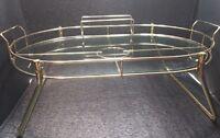 "Brass Glass Vintag Tea Mid Century Modern Drink Serving tray caddy condiment 25"""