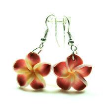 Red Hawaiian Plumeria Flower Handcrafted Fashion Fimo Polymer Clay Drop Earring