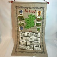 Vintage Ireland 1977 Calendar Tea Towel on Dowel Rod with Hanger Wall Decor