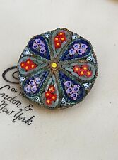 OLD VINTAGE JEWELLERY BEAUTIFULLY CRAFTED MICRO MOSAIC FLOWER GOLD BROOCH PIN