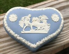 Wedgwood Blue Jasperware Heart Shaped Trinket Box Excellent Cond Angel Horses