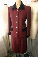 Vintage BALENCIAGA Tweed & Velvet Skirt Suit 38 80s