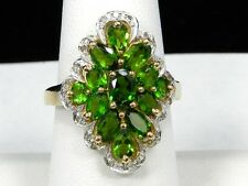 10K Yellow Gold Chrome Diopside Diamond Accent Cocktail Ring - Size 7.25