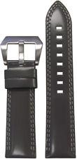 20mm Panatime Grey Premium Italian Leather Watch Band w/Double White Stitch