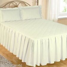 CREAM FITTED BEDSPREAD SET PILLOW SHAMS QUILTED EGYPTIAN COTTON 200 COUNT ECRU
