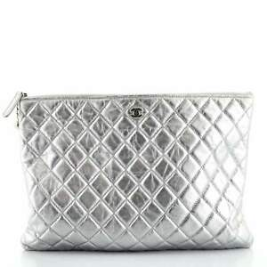 Chanel Cosmo Charm O Case Clutch Quilted Metallic Aged Calfskin Large