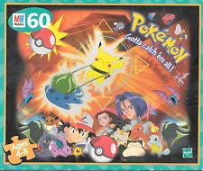 "Pokemon Bulbasaur vs Pikachu 60 piece 13"" x 15"" puzzle Milton Bradley 1999"