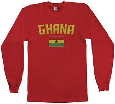 Threadrock Men's Ghana Flag Long Sleeve T-shirt Ghanaian Accra Soccer