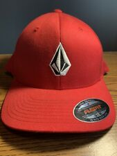 Volcom Men's Hat Red One Size Logo Full Stone Flex Fit Baseball Cap