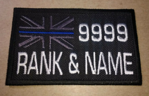 """EMBROIDERED THIN BLUE LINE PERSONALISED MEDIUM RECTANGULAR PATCH 3 1/2"""" X 2"""""""