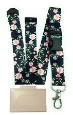 Spirius BLACK FLOWERS breakaway Lanyard neck strap + FREE id badge holder