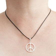 Peace Charm Pendant Necklace with Black Cord