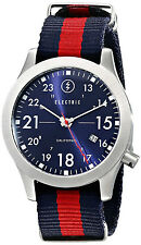 Electric Men's FW01 Navy Blue Red Dial Nylon Strap Field Watch Date EW0010020008