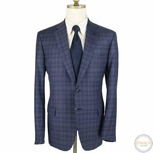 LNWOT CURRENT Brioni Blue Wool Plaid Top Stitch Dual Vents 2Btn Jacket 44R