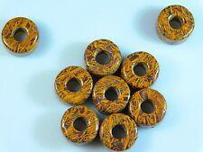 5 Pcs - Natural Shattuckite Jasper Wheel Shape European Large Hole Beads 8x14mm