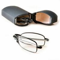Foldable Reading Glasses Spectacles Reader +1.5 +2 +2.5 Travel Pocket Hard Case.