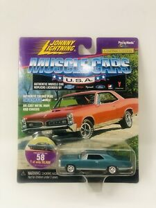 JOHNNY LIGHTNING MUSCLE CARS USA 1967 Pontiac GTO Teal CRAGAR #58 LIMITED 1999