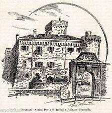 Frascati: Porta San Rocco e Palazzo Vescovile. Stampa Antica + Passepartout.1901