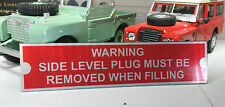 Gearbox Level Plug Oil Warning Information Plate Plaque Land Rover Series 1 2