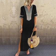 Plus Size Womens V-Neck Long Maxi Dress Tunic Split Summer Holiday Beach Dress t