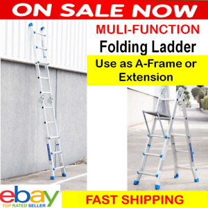 2.8m Ladder Multi purpose Folding Aluminium Extension Adjustable Step DIY Roof