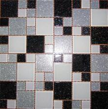 Glass Mosaic Tiles Black Silver & White Glitter Random Modular Mix Sheet MT0034