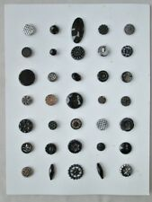 Vintage BUTTON Collection,35 BLACK GLASS,Celluloid,On Display CARD