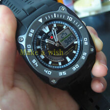 OHSEN Mens XL Military Analog&Digital Dual Round Face Black Sport Wrist Watch