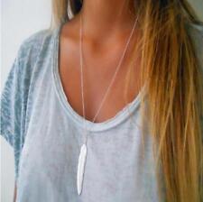 Silver Long Simple Minimalist Layering Boho Feather Pendant Necklace USA