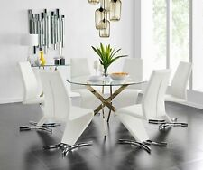 NOVARA Gold Large Round Glass Dining Table And 4 6 Faux Leather Dining Chairs