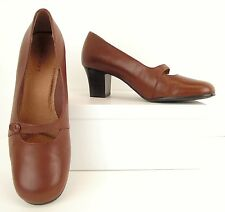 Strictly Comfort Brown Leather Mary Jane Heels Pumps Dress Shoes 7.5 M (S141)