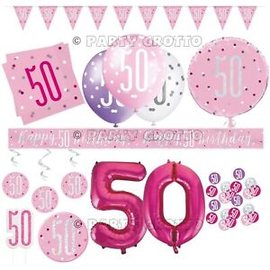 Pink 50th Birthday Party Decorations Supplies Ladies Balloons Banners Age 50