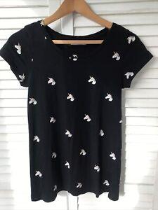 PULL & BEAR Size Large T-Shirt Top Unicorn Head Print Black Tee L