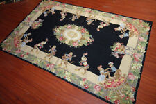 4' X 6' Needlepoint Monkey Festeval Rose Fruits Gorgeous  Carpet #54