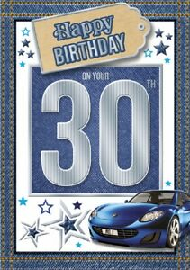 30 Today Happy Birthday Car Card For Age 30 Male