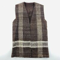 Vintage Women's Retro Handmade Vest Brown Wool Navaho Native American Size S