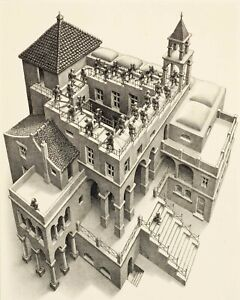 Escher ascending and descending print on canvas giclee 8X12&12X17 art poster