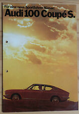 Audi 100 Coupe s 1972 folleto original brochure Catalogue alemán german