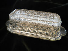 Vintage ~ Anchor Hocking Wexford Pattern Crystal Glass Clear Butter Dish w/ Lid