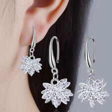 925 Sterling Silver Zircon Ice Flower Dangle Hook Earrings Womens Christmas Gift