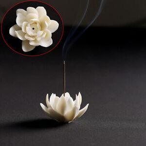 1PCS Ceramic White Lotus Incense Burner Home Decor Incense Stick Hol hqBBCA