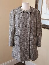 DKNY Wool Blend Gray Black Tweed Peacoat Size 8 Jacket Coat A-Line Baby Doll