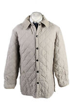 Vintage Barbour Quilted Mens Coat Jacket Warm Padded Lining Size L Beige - C1873