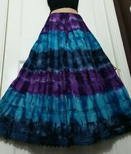 Ladies Cotton Tie Dye Skirt Crochet&Lace BOHO Purple/Blue 12 14 16 18 20 22