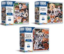 3 x 1000 Piece Jigsaw Puzzles, Pups & Kittens + Garden Puppies + Kittens Garden