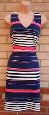 PAPAYA PURPLE PINK WHITE STRIPED V NECK BODYCON SLEEVELESS PENCIL TUBE DRESS 12