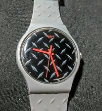 Men's Swatch Watch With Diamond Plate Design. Clean & Works! AG 2014